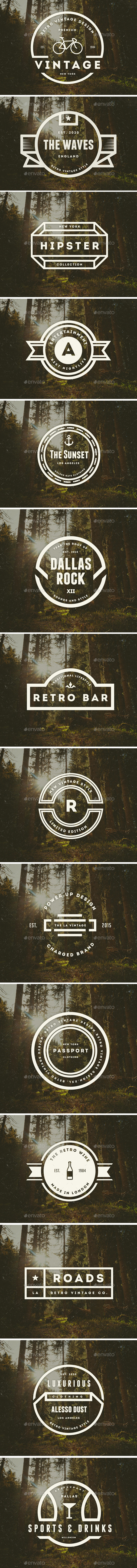 14 Vintage Logos Labels & Badges - Badges & Stickers Web Elements