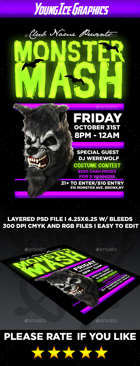 Monster Mash Flyer Template - Clubs & Parties Events