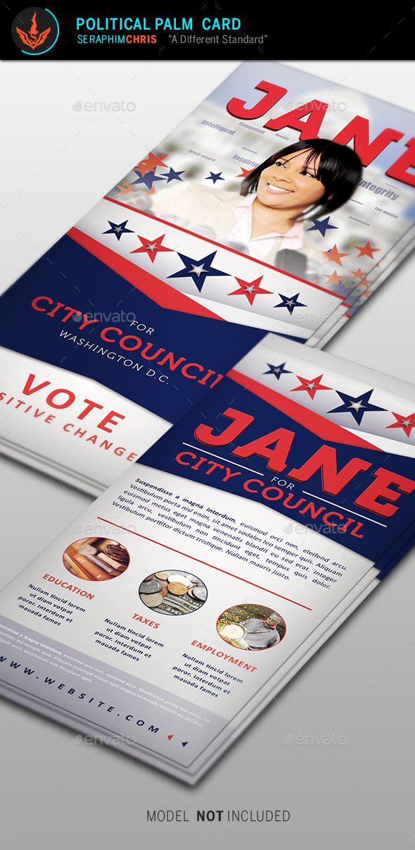 Jane 2 Political Palm Card Template - Corporate Flyers