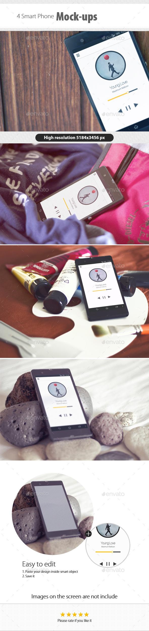 Smart Phone Mockups - Product Mock-Ups Graphics