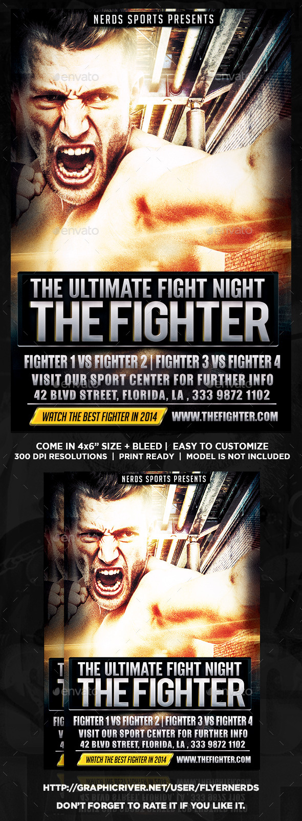 The Fighter Fight Night Flyer - Sports Events