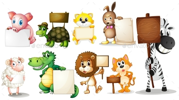 Animals with Empty Signboards - Animals Characters