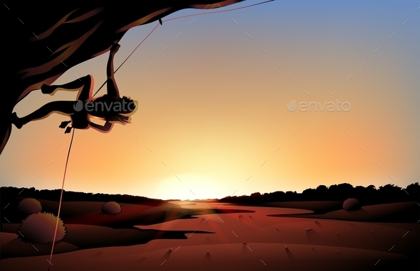 Sunset View of the Desert with a Man Climbing - Landscapes Nature
