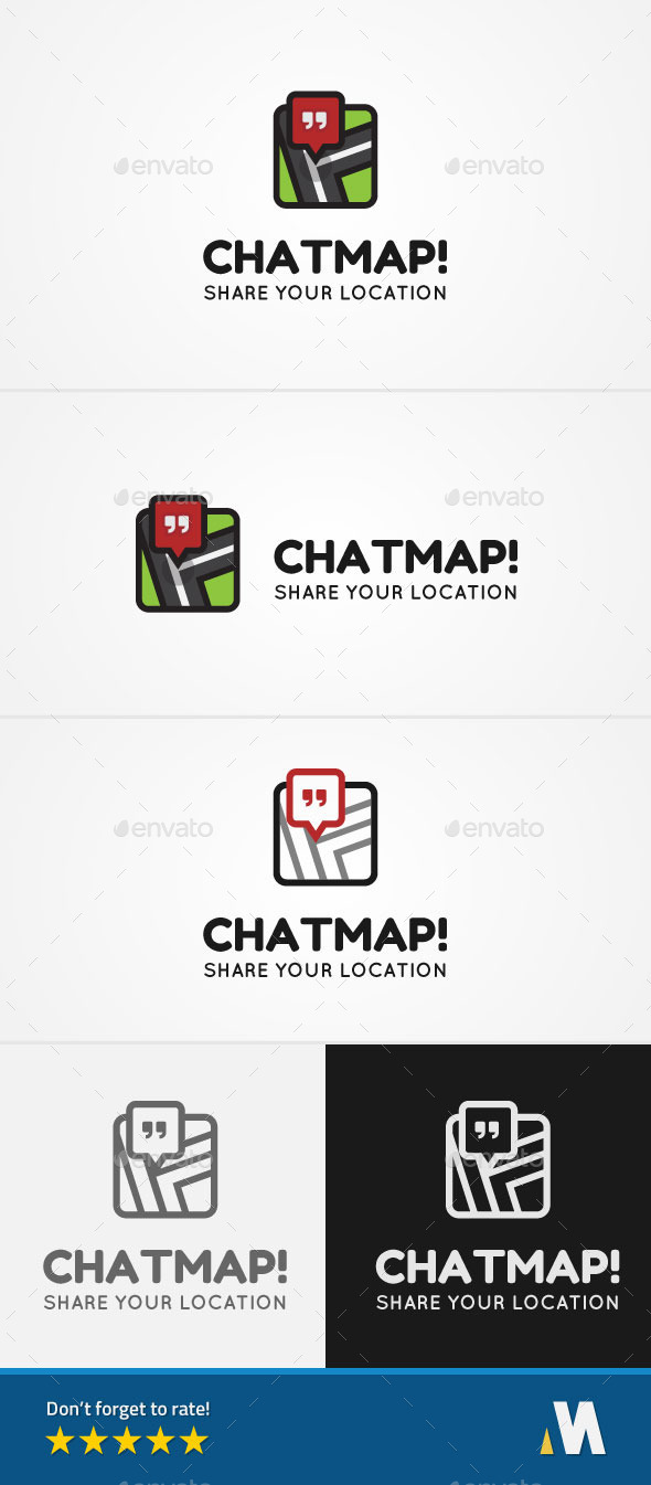 Chat Map or Share Location - Objects Logo Templates