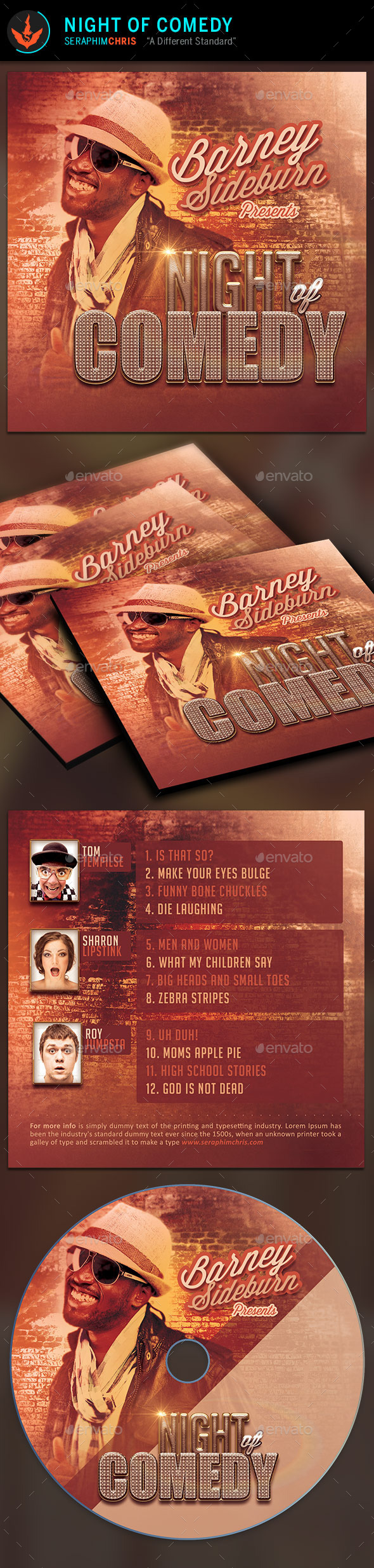Night of Comedy: CD Artwork Template - CD & DVD Artwork Print Templates