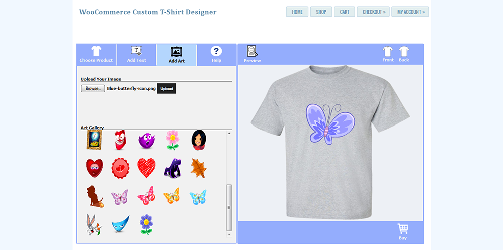 Woocommerce custom t shirt designer by wpproducts codecanyon for Create t shirt store online