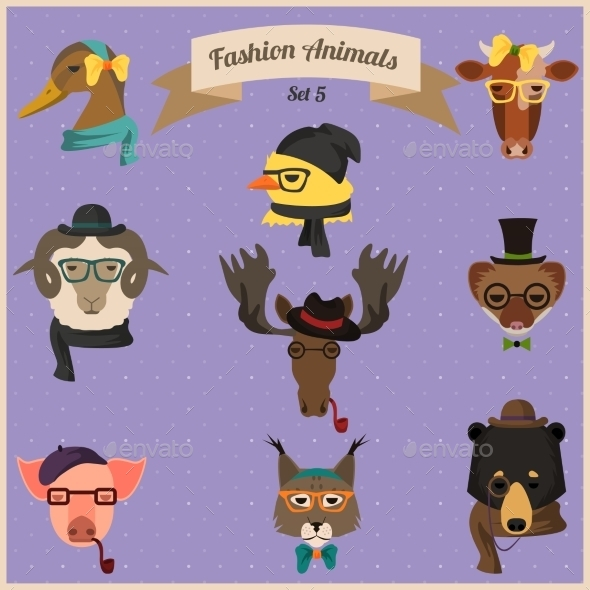 Fashion Hipster Animals Set 5  - Animals Characters
