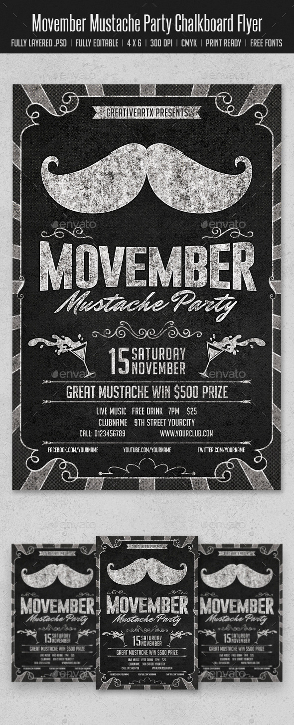 Movember Mustache Party Chalkboard Flyer - Clubs & Parties Events