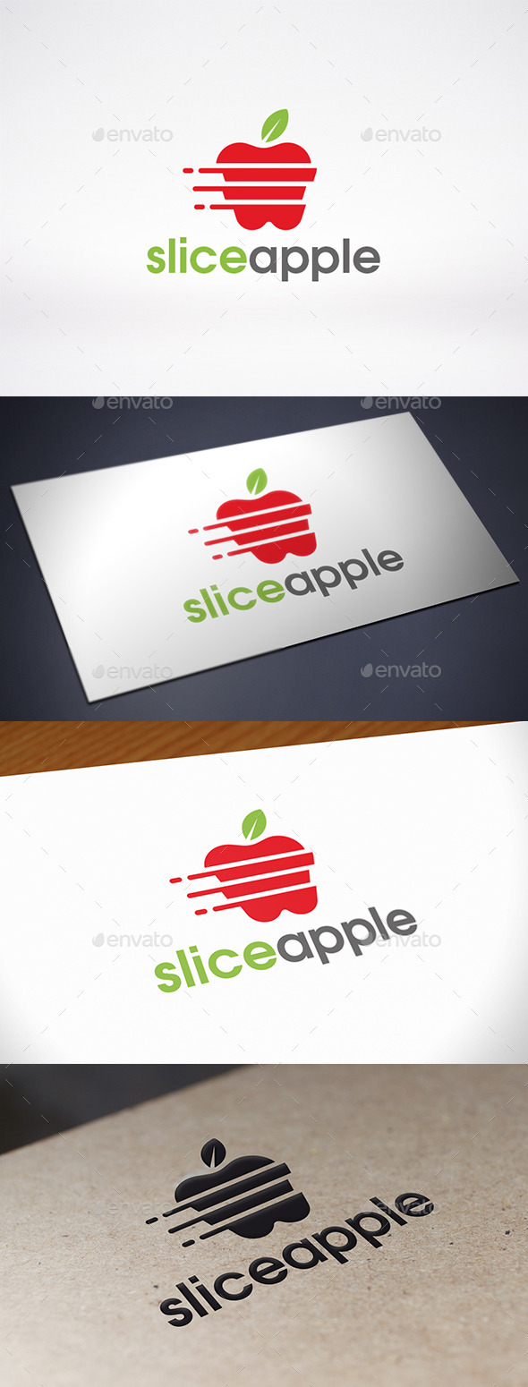 Slice Apple Logo Template - Food Logo Templates