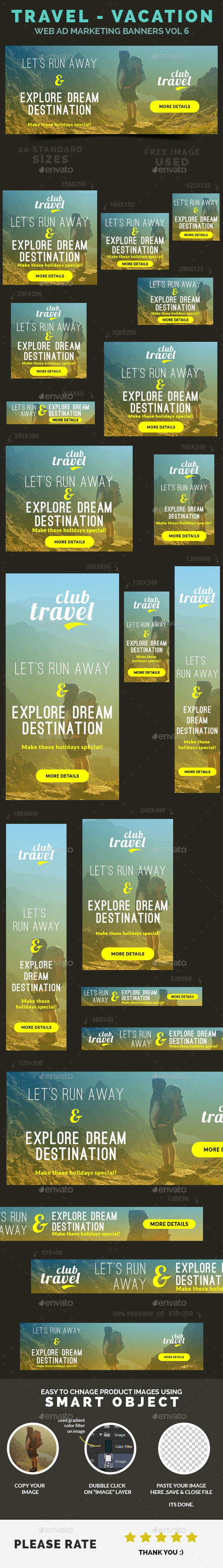 Travel - Vacation Web Ad Marketing Banners Vol 6 - Banners & Ads Web Elements