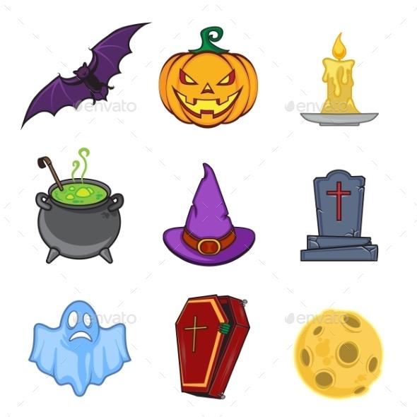 Halloween Cartoon Icon Objects - Halloween Seasons/Holidays