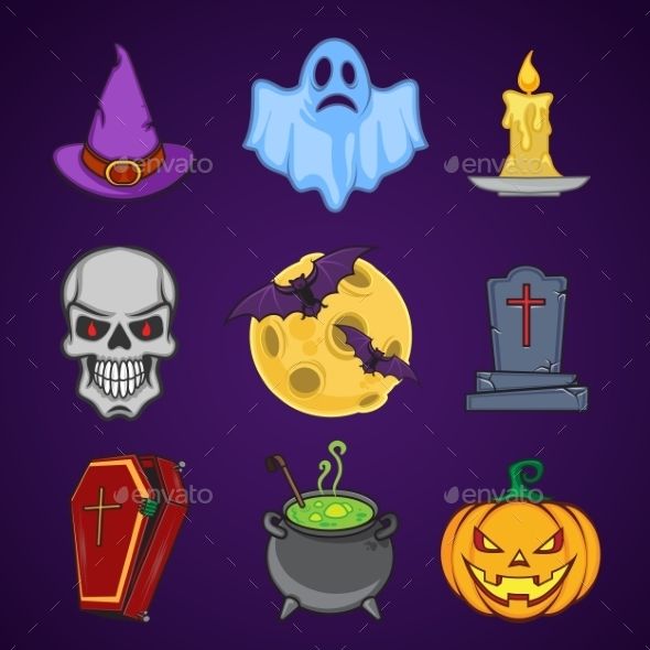 Halloween Cartoon Icon Objects - Halloween Seasons/Holidays
