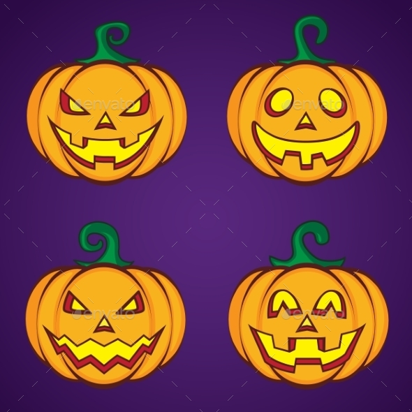 Halloween Cartoon Pumpkin Jack O Lantern - Halloween Seasons/Holidays