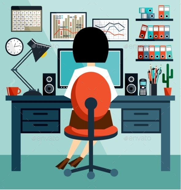 Business Woman in Flat Style  - Business Conceptual