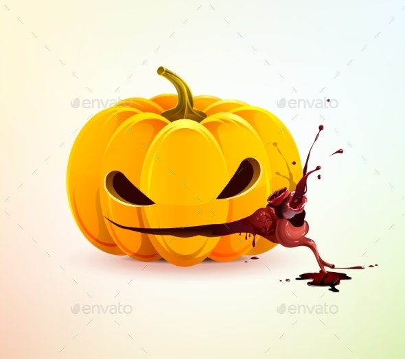 Evil Pumpkin with Heart - Halloween Seasons/Holidays