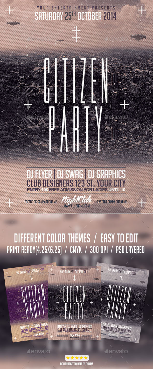 Citizen Alternative Party PSD Flyer Template - Events Flyers