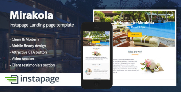 Mirakola - Instapage Landing page Template