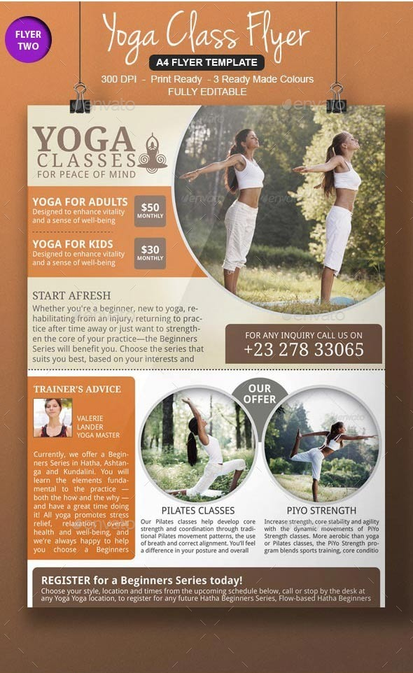 Yoga flyer template bundle by blogankids graphicriver for Yoga brochure templates free