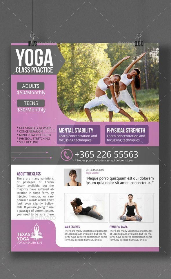 Yoga Flyer Template Bundle By Blogankids  Graphicriver