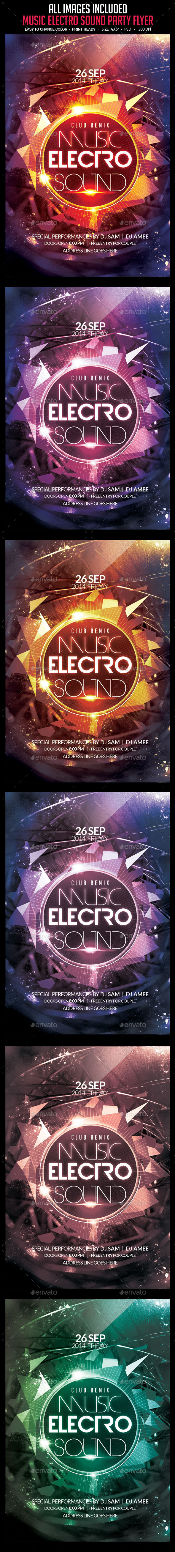 Music Electro Sound Party Flyer - Clubs & Parties Events