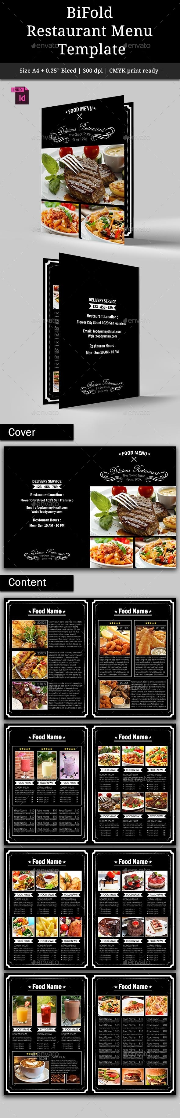 BiFold Restaurant Menu Vol. 2 - Food Menus Print Templates
