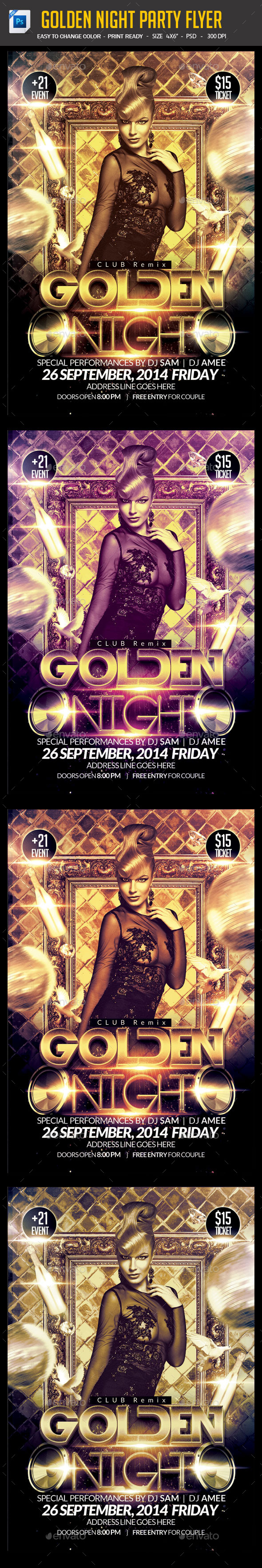 Golden Night Party Flyer - Clubs & Parties Events