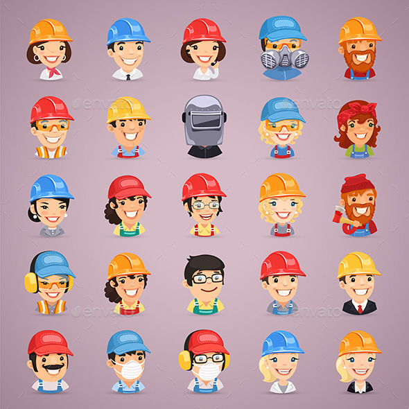 Builders Cartoon Characters Icons Set - People Characters