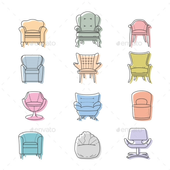 Colorful Armchairs - Objects Vectors