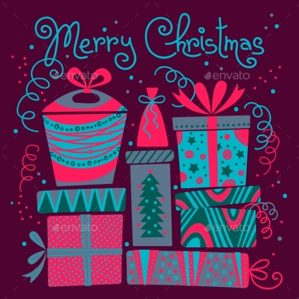 Christmas Card with Gift Boxes. - Christmas Seasons/Holidays
