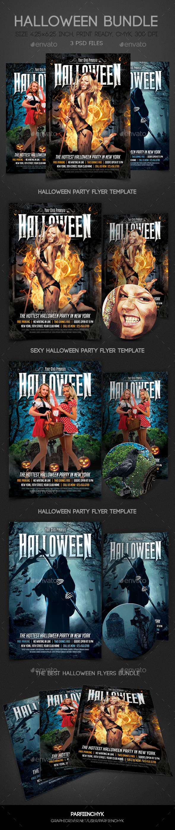 Halloween Party Flyers Bundle - Clubs & Parties Events