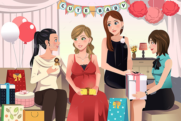 Women in a Baby Shower Party - People Characters