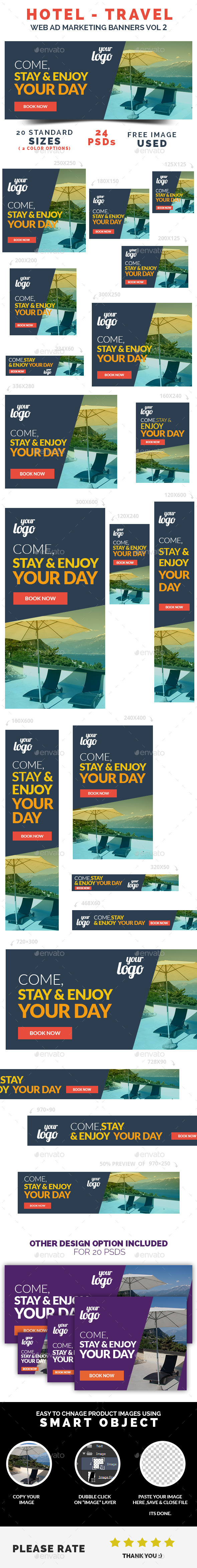 Hotel / Travel Web Ad Marketing Banners Vol 2 - Banners & Ads Web Elements