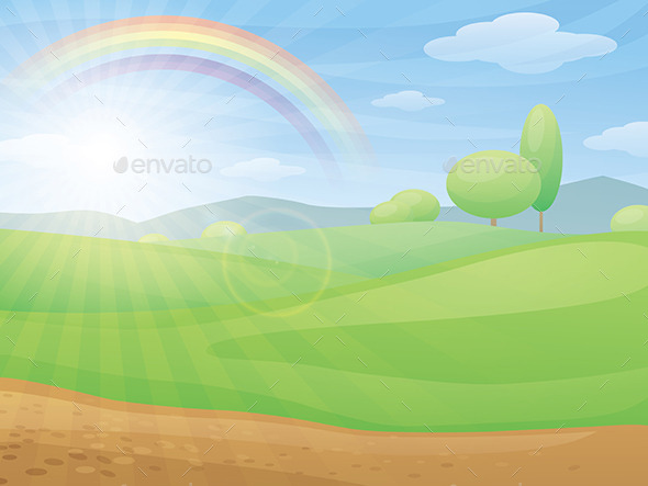 Kids Cartoon Landscape with Rainbow - Landscapes Nature