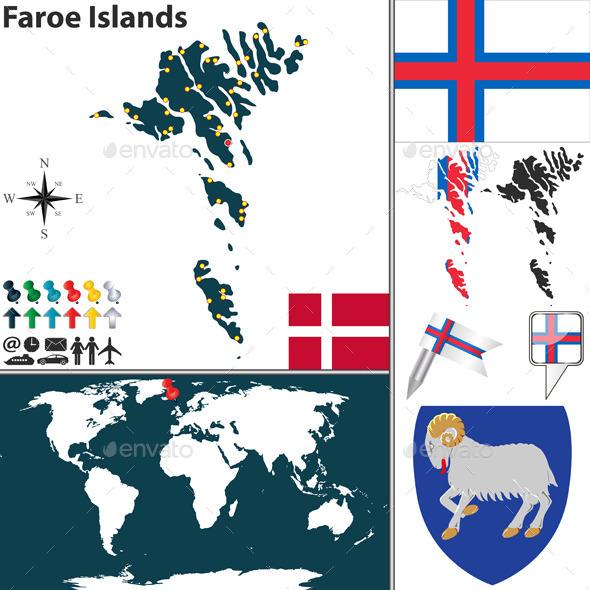 Map of Faroe Islands - Travel Conceptual