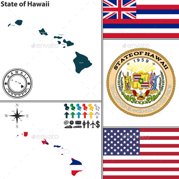 Map of State Hawaii, USA - Travel Conceptual