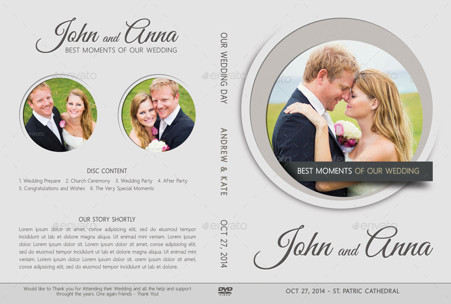 6 In 1 Wedding DVD Cover Disc Label Bundle