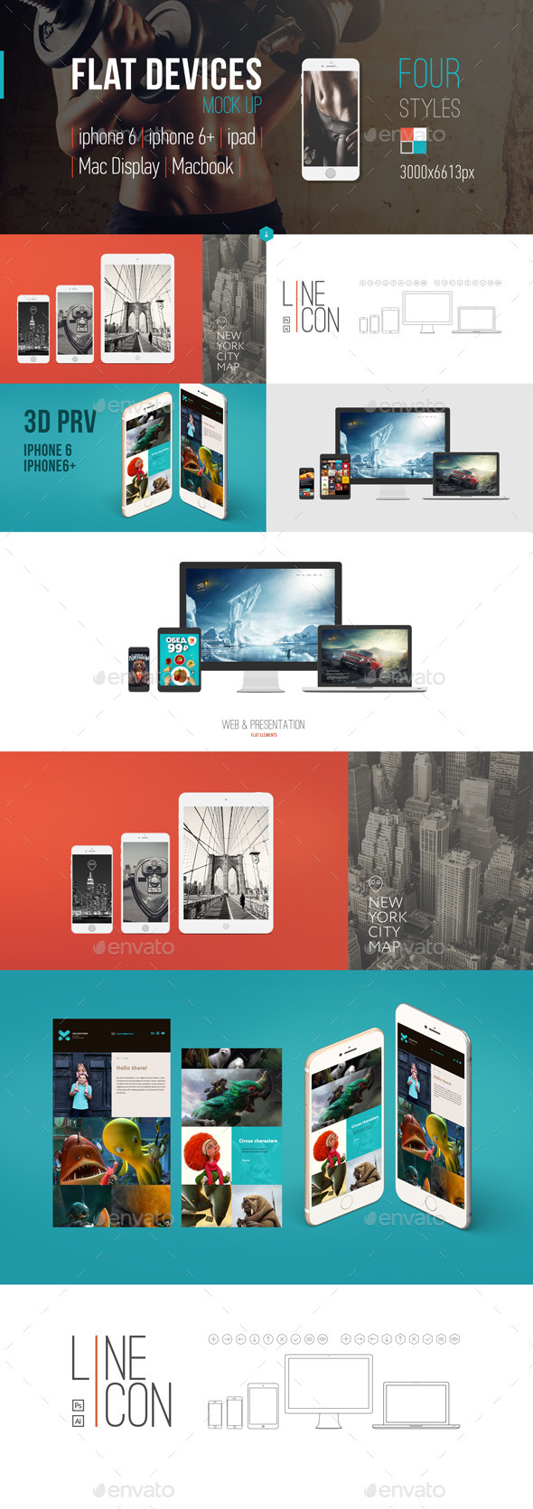 Flat-style Devices Mock-Up (PSD) - Product Mock-Ups Graphics