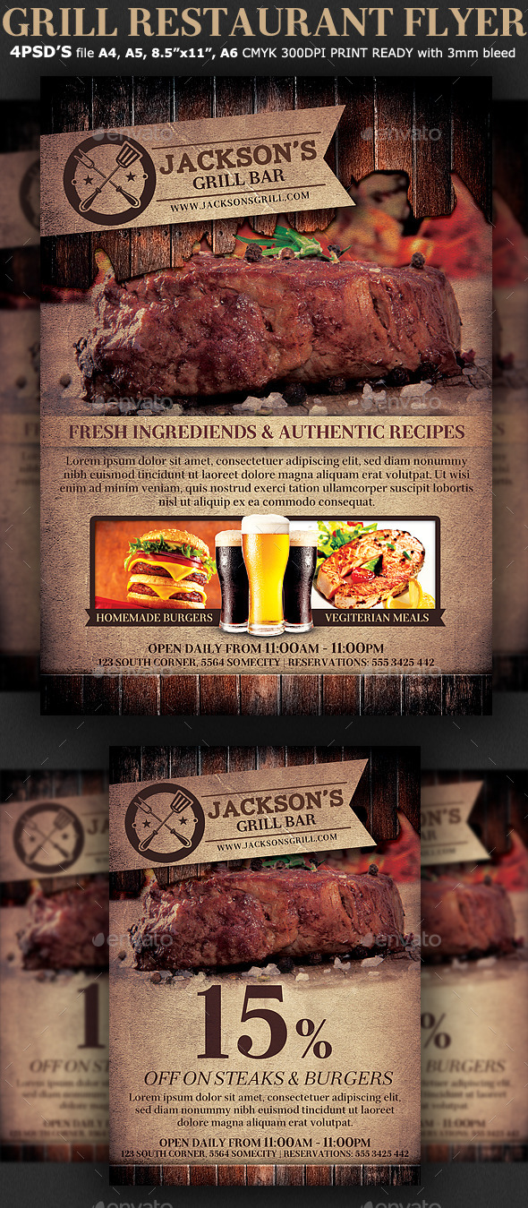 grill restaurant promotion flyer template by hotpin