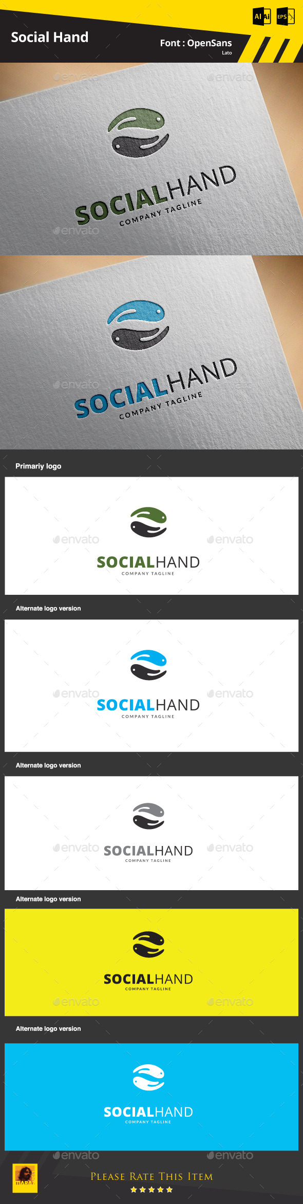 Social Hand  Logo Template - Abstract Logo Templates