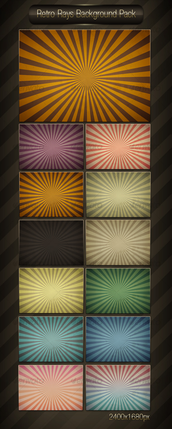 Retro Rays Background Pack - Backgrounds Graphics