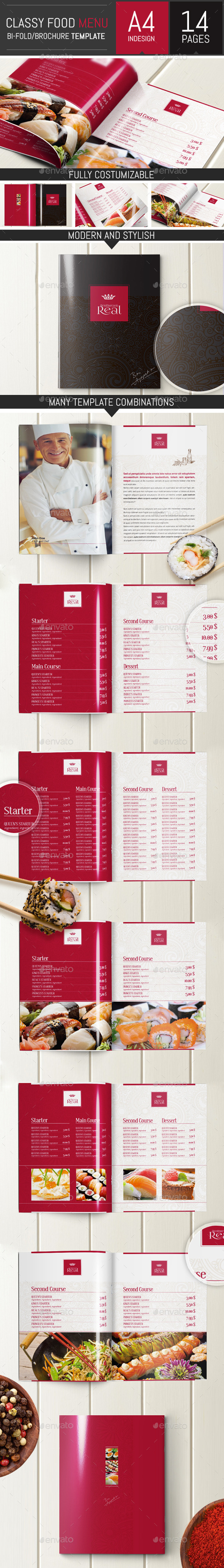 Classy Food Menu Brochure Template - Food Menus Print Templates