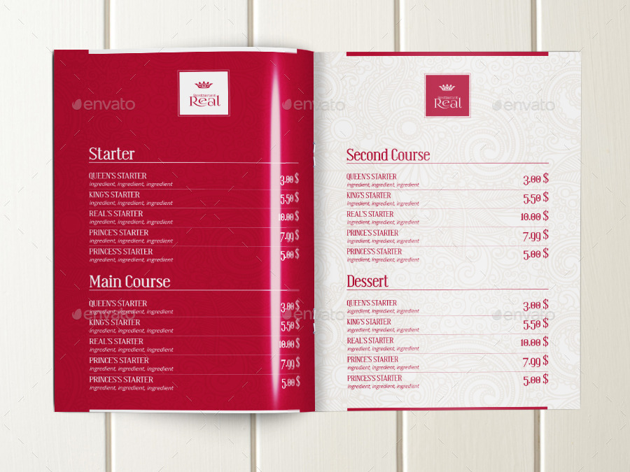 Classy Food Menu Brochure Template By Dogmadesign  Graphicriver
