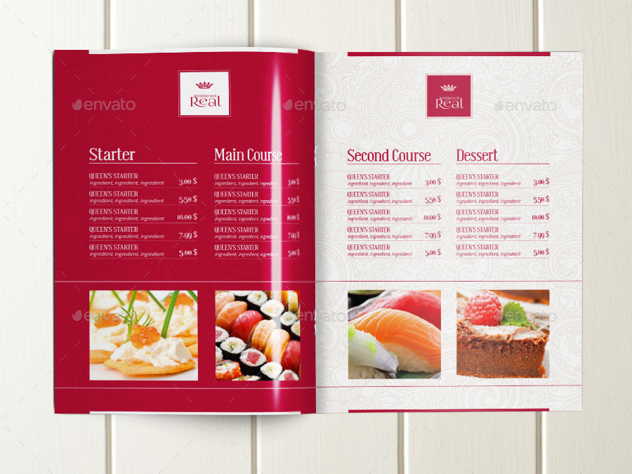 Classy Food Menu Brochure Template By DogmaDesign GraphicRiver - Menu brochure template