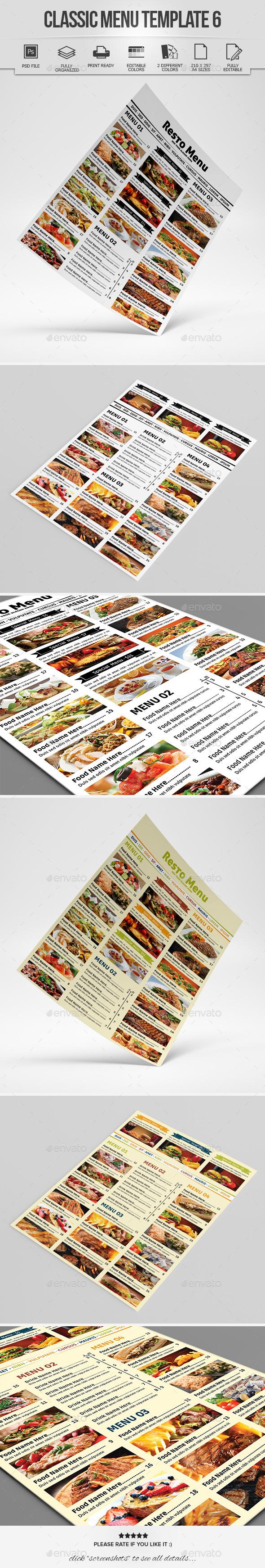 Classic Menu Template 6 - Food Menus Print Templates