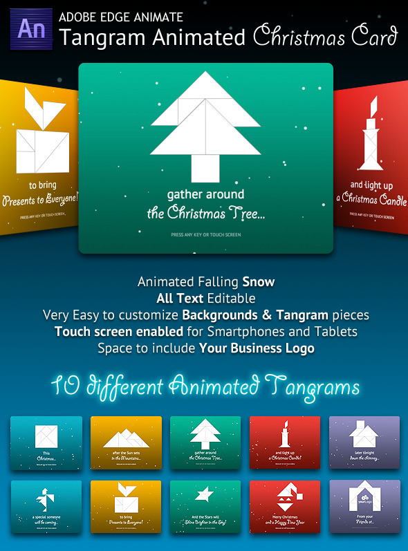 tangram animated christmas card codecanyon item for sale