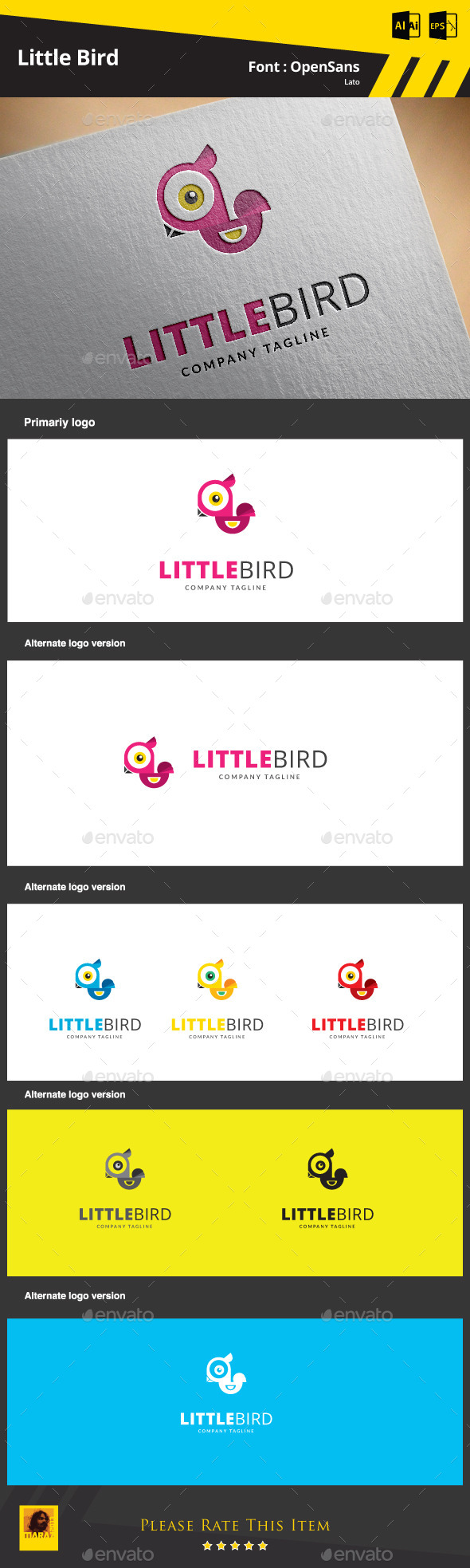 Little Bird  Logo Template - Animals Logo Templates