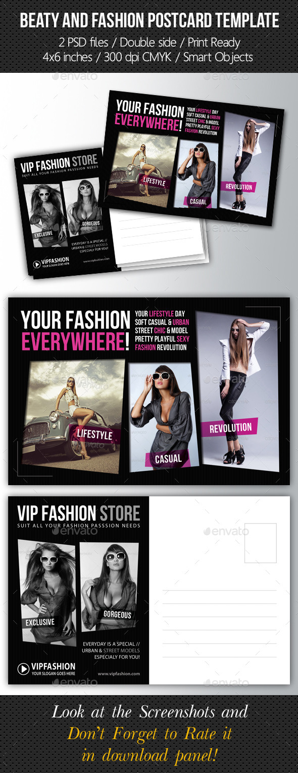 Fashion and Beauty Postcard Template V02 - Cards & Invites Print Templates