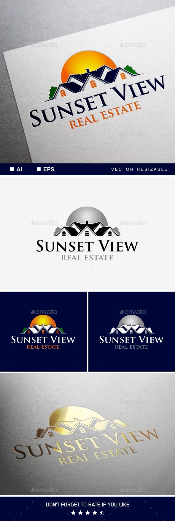 Sunset View Logo - Buildings Logo Templates