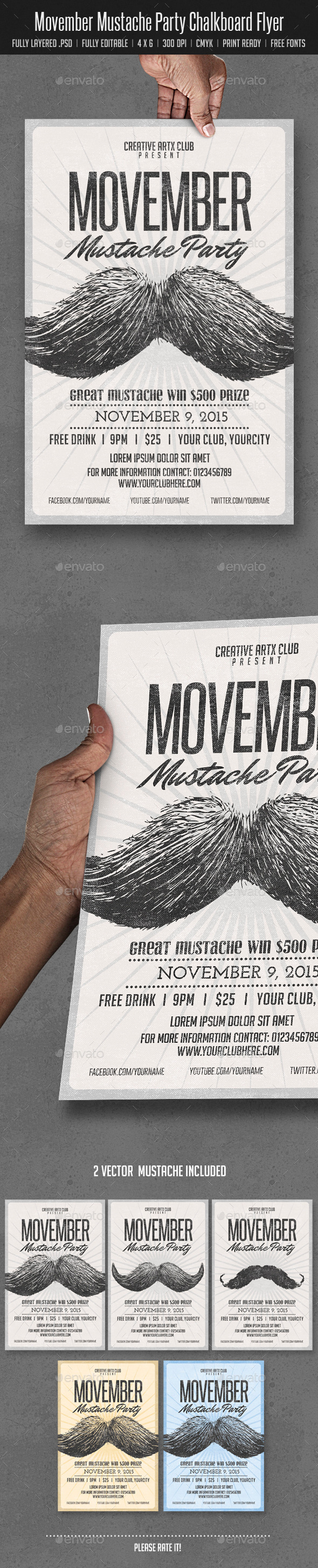 Movember Mustache Party - Events Flyers