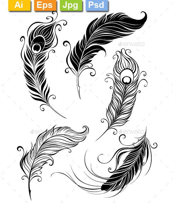 Set of Feathers - Tattoos Vectors